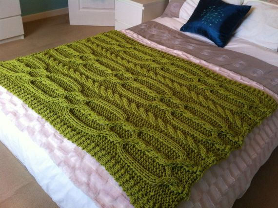 Chunky Cable Knit Blanket Pattern : Knitting pattern- Chunky Cable Blanket / Throw.