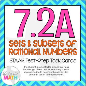 *NEWLY UPDATED FEBRUARY 2018!* TEKS Aligned: 7.2A (Supporting Standard): The student is expected to extend previous knowledge of sets and subsets using a visual representation to describe relationships between sets of rational numbers. ______________________________________________________________________ THIS INCLUDES: -20 test-prep, multiple choice task cards -A student recording sheet that includes space for
