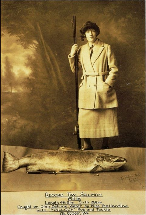 Georgina Ballantine with the biggest ever rod-caught Atlantic salmon, at 64lbs, caught in 1922! #worldrecord #atlantic #salmon