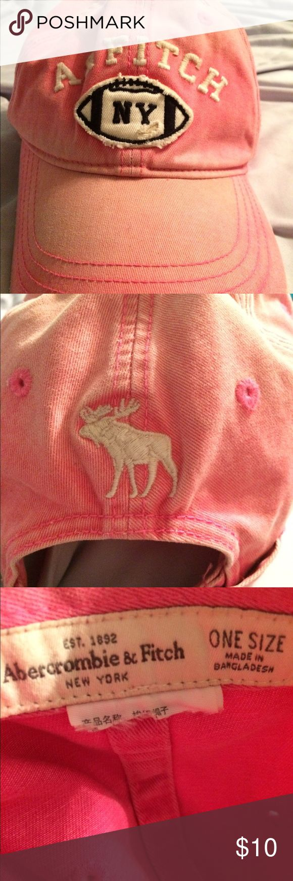 Abercrombie & Fitch Hot Pink Baseball Cap Hot Pink distressed baseball hat. Small makeup stain on the inside of the brim. Abercrombie & Fitch Accessories Hats