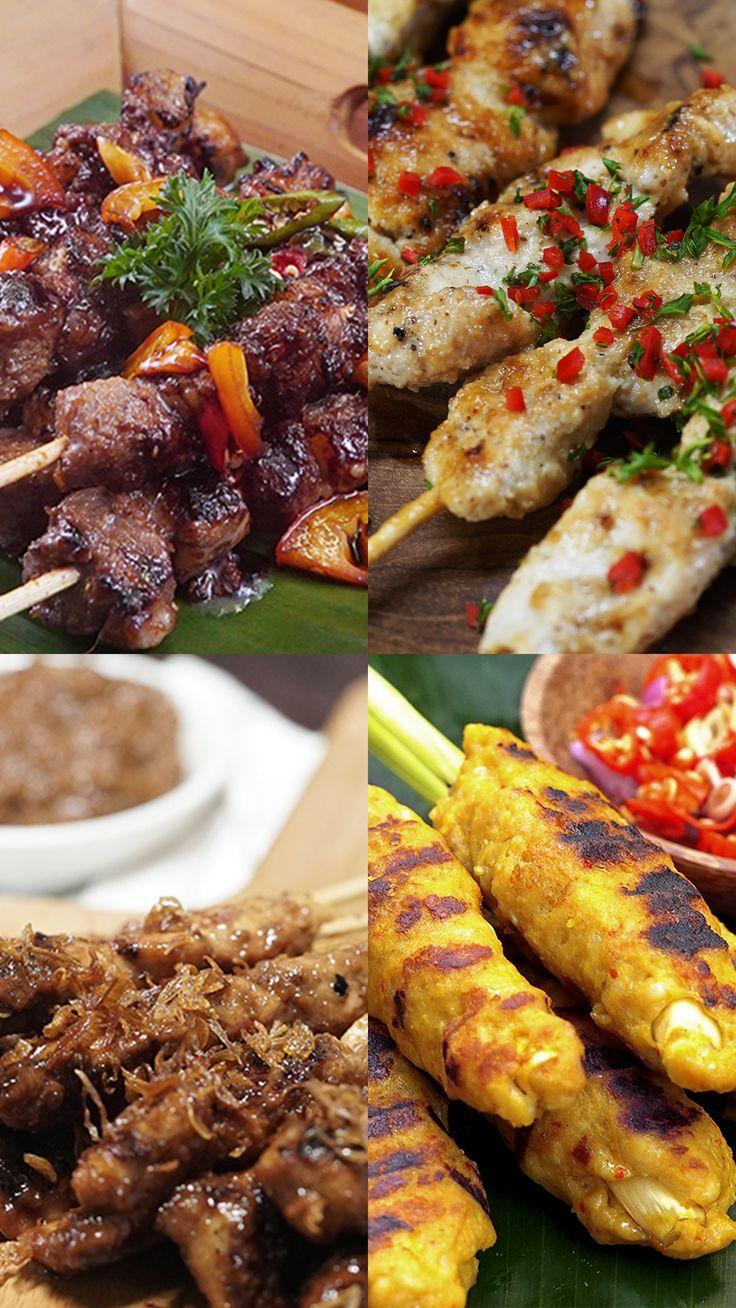 [Video] 4 Macam Sate Masakan simpel, Ide makanan, Makanan