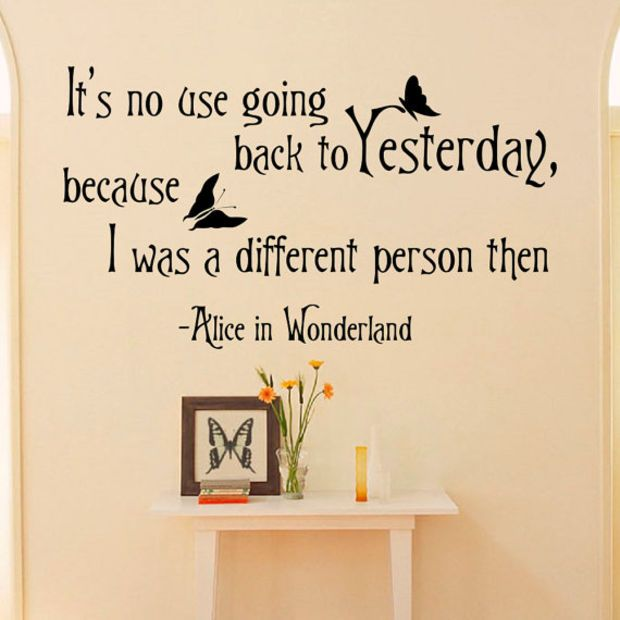 Alice In Wonderland Wall Decals Quotes Itu0026 No Use Going Back To Yesterday  Vinyl Wall Sticker Art Bedroom Dorm Home Decor