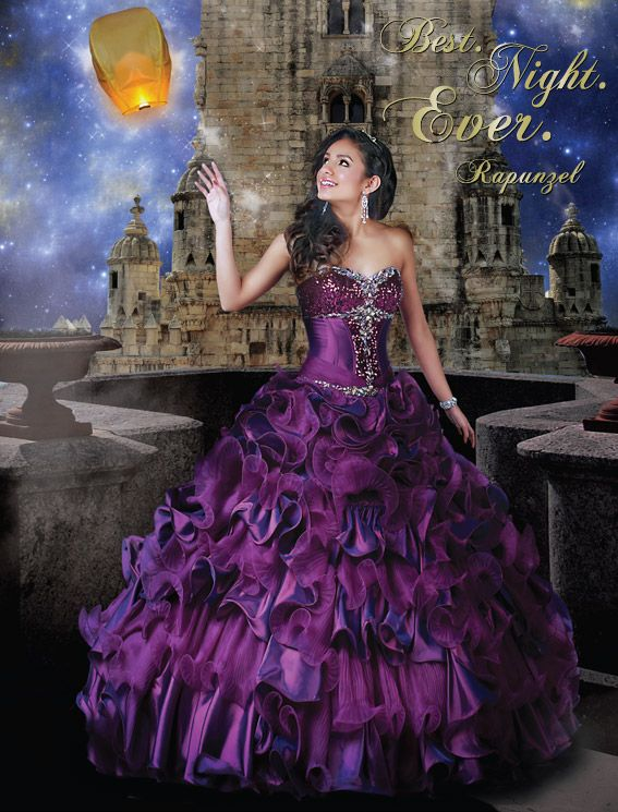 Disney Royal Ball | Quinceanera Dresses | Quinceanera Dresses by Disney Royal Ball - RAPUNZEL - A tribute to Rapunzel's passion and artistic spirit, this organza ball gown features ornate beading and ruffled skirt that is detachable for a second look!