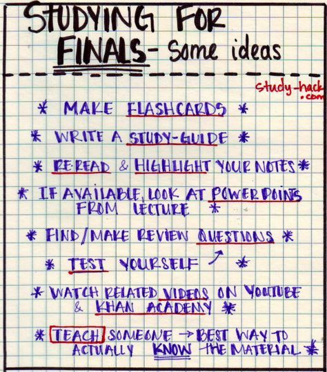 When you need to study for a final/test, but don't know what to do! Here are some ideas: • Make flashcards • Write a study-guide • Reread and highlight your notes from class • If available, look at power point slides from lectures • Make/find review...