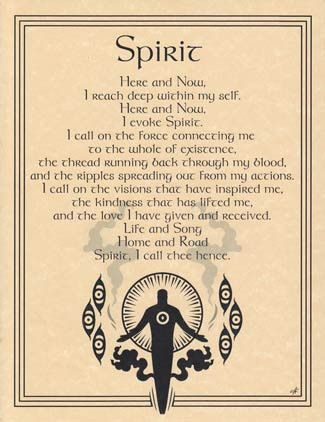 The Spirit Evocation poster provides you with the means to evoke the nature of Spirit, or the life force within all things, which some traditions view as the fifth element. Using the poetic words of T