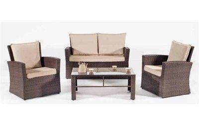 CONJUNTO DE RATTAN BORNEO. Set de ratán sintético o huitex formado por sofá, 2 sillones, mesa de centro y cojines
