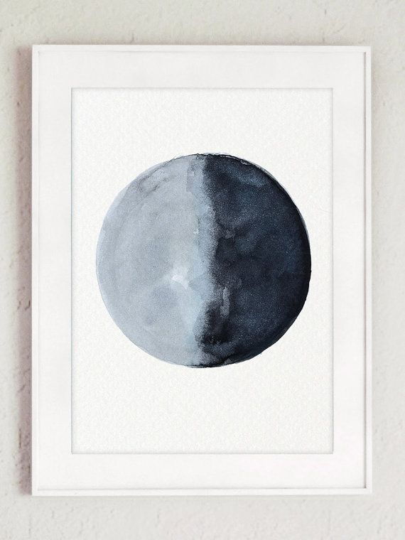 Moon Phases Wall Art Print Navy Blue Bedroom by ColorWatercolor