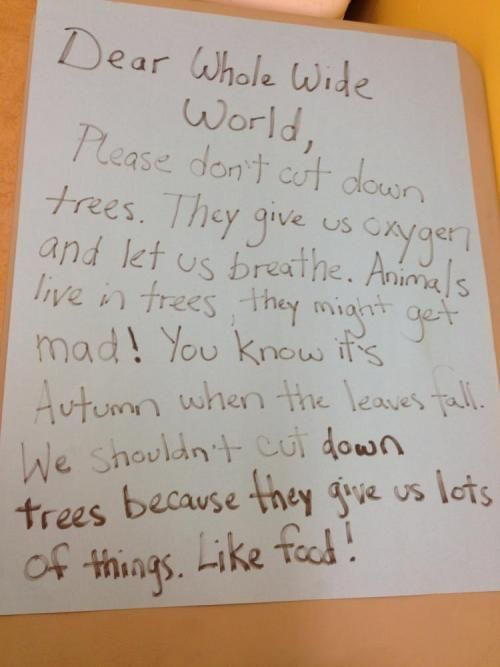 Preschoolers write adorable letter on why we need to save the trees