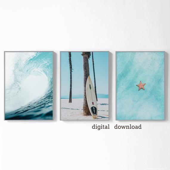 Beach Wall Decor Set Surf Poster 3 Piece Wall Art Teal Ocean