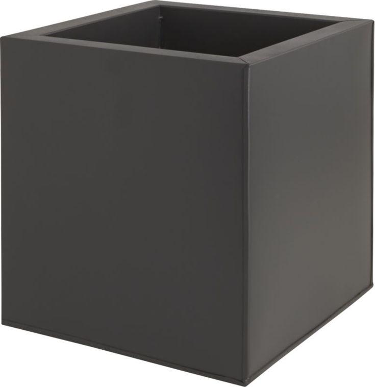 blox medium square galvanized charcoal planter | CB2