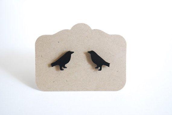 Black Bird Earrings. Raven Post Earrings by paperfacestudio, $12.00
