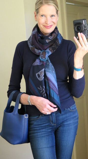 Vertical Basic Slide Knot w/ scarf already wrapped once around neck. Uses a buckle-style shawl ring.