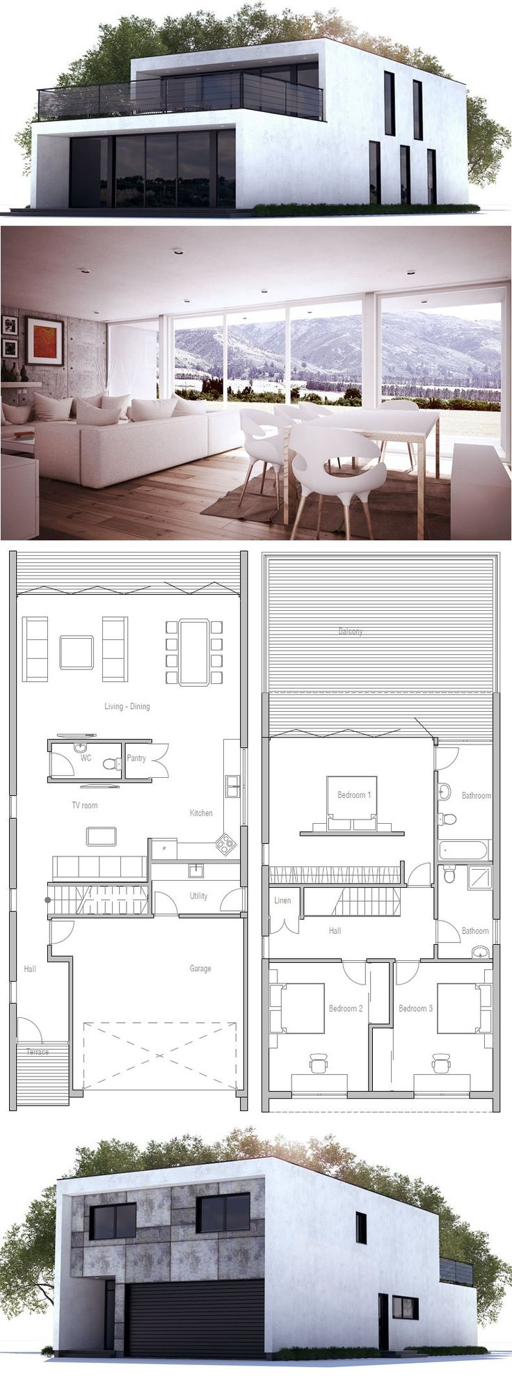Modern Contemporary Home with three bedrooms and double garage. Floor Plan from ConceptHome.com