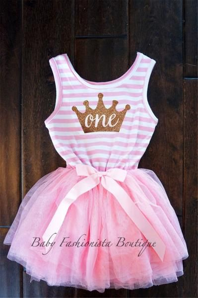 First Birthday Custom Gold Crown tutu Dress