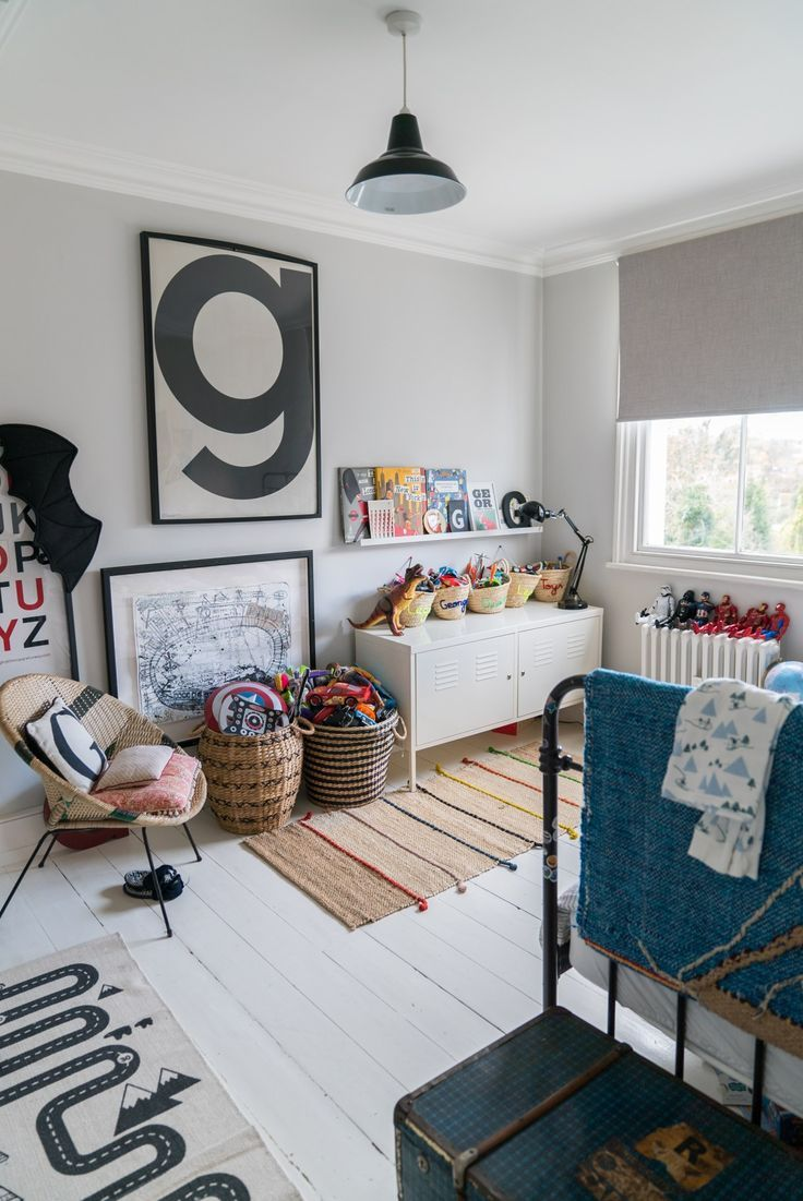 Bold typography and a modern look creates this fun kids room