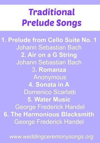 Traditional Wedding Prelude Songs