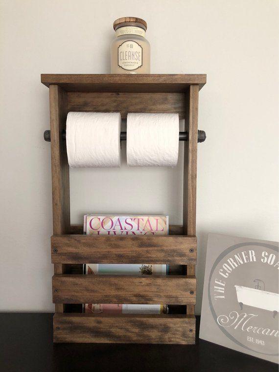 Bathroom Toilet Paper Holder Magazine Rack Combo Rustic Free Standing Black Iron Pipe