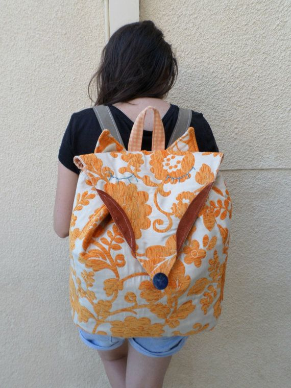 The fox backpack  Orange  cream fox bag by MariasHappyThoughts