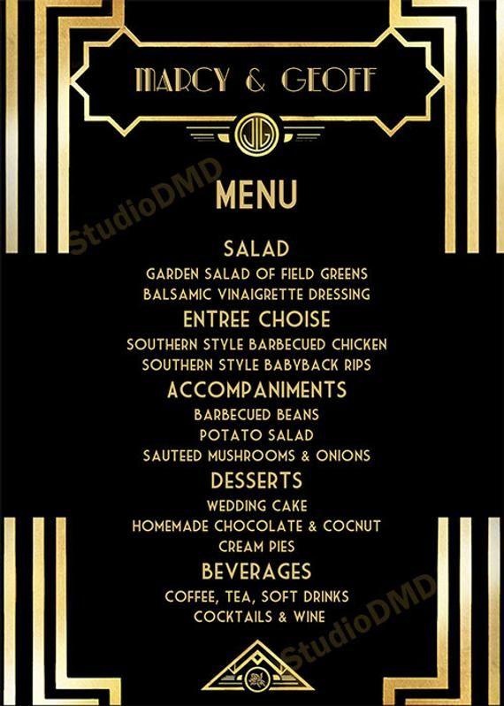 Druckbare Menu Karte Vorlage Grosse Gatsby Stil Art Deco Etsy Menu Card Template Gatsby Birthday Party Printable Menu Cards