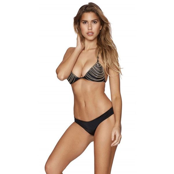 Beach Bunny Chain Reaction Bikini Top Black (1.265 DKK) ❤ liked on Polyvore featuring beach bunny