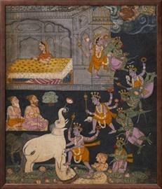 Illustration to a Gajendra Moksha Series Depicting Vishnu Rescuing the Elephant King Giclee Print at AllPosters.com