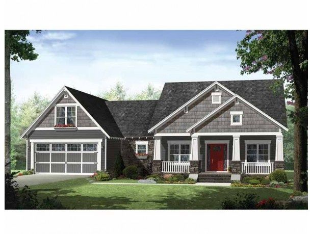 Craftsman Style ranch Home Exteriors | craftsman ranch,attached garage, picture windows, back porch