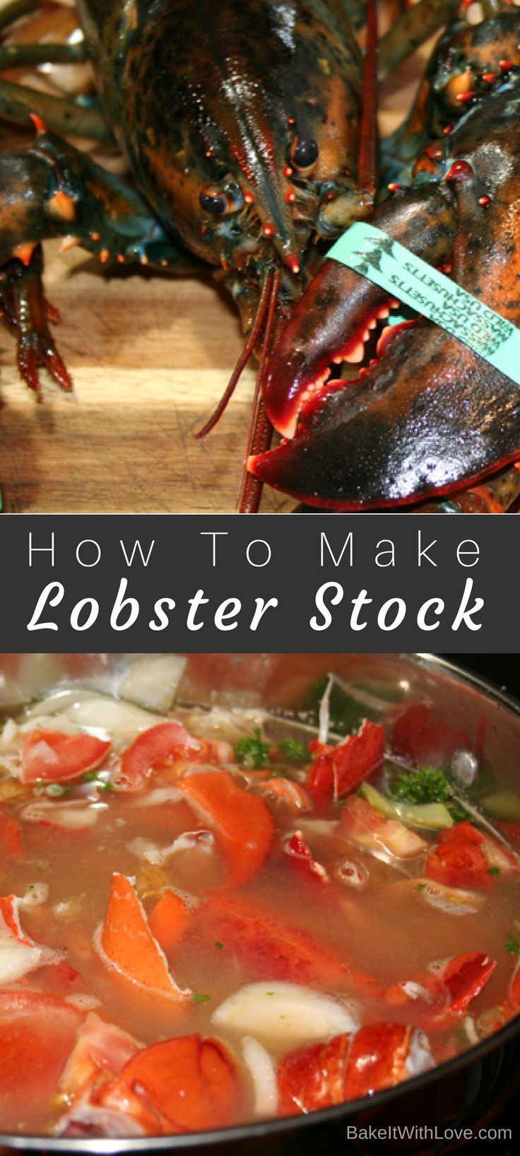 A super easy walk through on How To Make Lobster Stock, which adds so much to your amazing seafood dishes like the ones we will be using it for! Be sure to check out the related recipes that we made with this batch of lobster stock, the Hell's Kitchen Lobster Risotto (copycat recipe) and Roasted Corn Lobster Chowder! BakeItWithLove.com | #howto #lobsterstock #lobstershells #seafoodstock #homemade