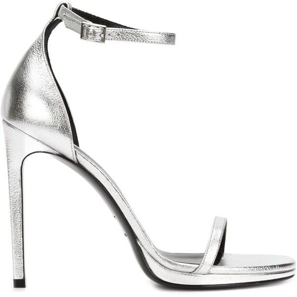 Saint Laurent 'Jane' sandals (£720) ❤ liked on Polyvore featuring shoes, sandals, heels, grey, gray shoes, ankle wrap sandals, grey sandals, stiletto sandals and open toe sandals