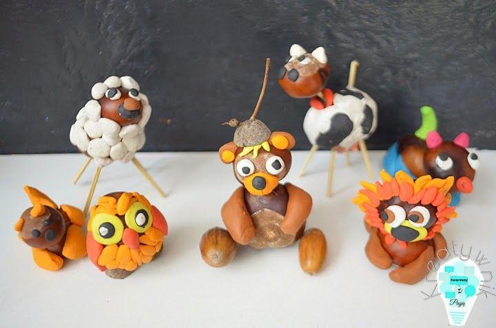 kasztaniaki - zwierzątka z kasztanów i plasteliny / conker animal craft for kids