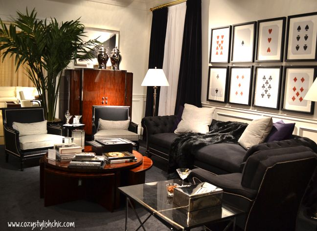 Sophisticated black and white living room for the bachelor pad by ...