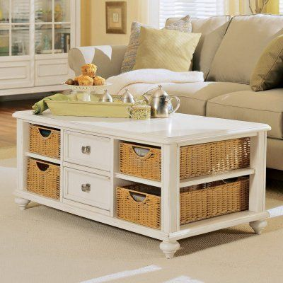 American Drew Camden Light Rectangular Coffee Table by American Drew. $525.00. You'll be a basketcase when you see the American Drew Camden Light Rectangular Coffee Table. That's because it has four baskets. Oh and durable construction a vibrant white finish and two drawers. About American DrewFounded in 1927 American Drew is a well-established leading manufacturer of medium- to upper-medium-priced bedroom dining room and occasional furniture. American Drew's p...