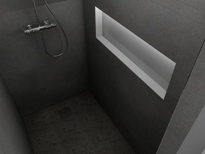 Nis in de wand van de douche badkamer toilet pinterest badkamer voor het huis en idee n - Badkamer lay outs met douche ...