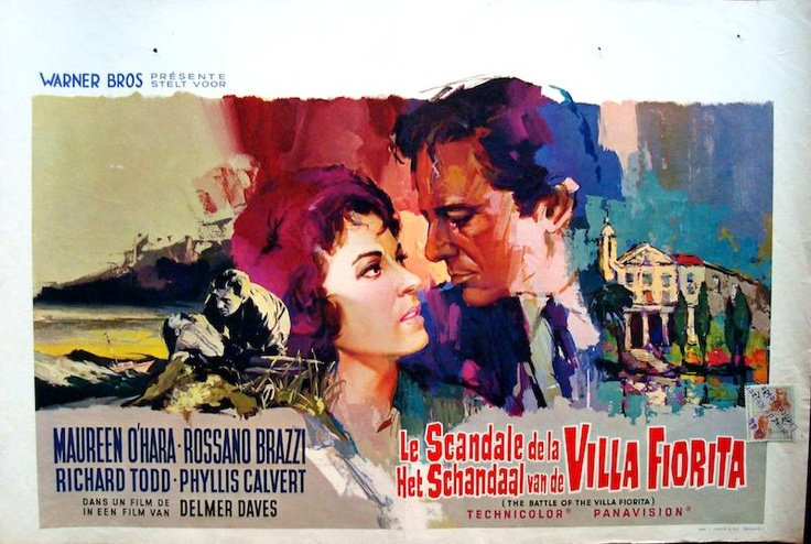 The Battle Of The Villa Fiorita Belgian movie poster. Ray (Raymond Elseviers) art. Maureen O'Hara