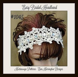 CROCHET PATTERN, Easy Bridal Headband, make any size, ties with a ribbon, so one size fits all! Very quick and easy to make.