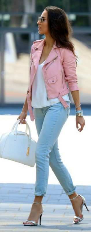 Baby Pink Biker Jacket // Fashion Look by Style & BLog