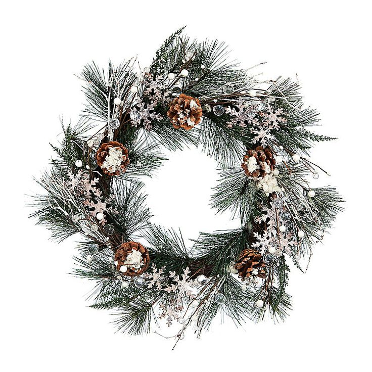 Pine Branch Snowflake Wreath | Kirklands