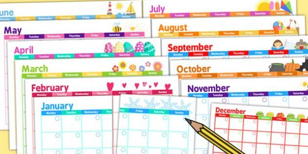 Themed Academic Calendar - twinkl