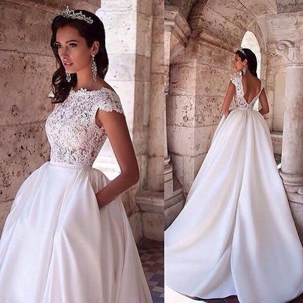 Vintage 2016 White Princess Wedding Dresses With Pockets Lace Appliques Boat Neck Capped Sleeves Backless Bridal