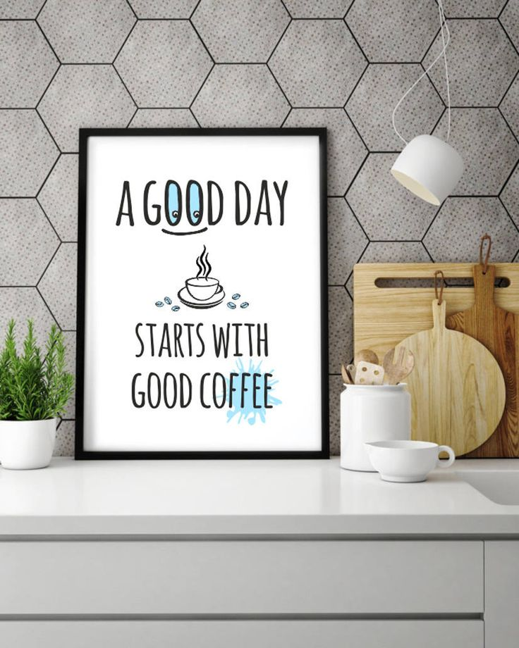 """Poster """"A good day starts with good coffee"""" * Modern poster * Merry Gallery * Housewarming Gift * For active people * Digital art * Coffee by MerryGallery on Etsy"""