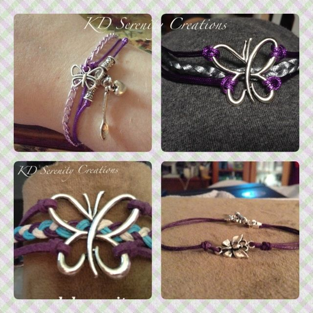 """4 bracelets including a butterfly and purple for Fibromyalgia or Lupus. PLEASE GIVE ME YOUR WRIST SIZE IN COMMENTS OR REAPOND TO CONVERSATION. Standard bracelet will fit 6.5""""-8"""". Made to order. Available with magnet clasp on request. Allow 7-10 days before shipping-after I get your size ;) Thank you! Check out my facebook page for more creations! I post at least 4 pics every day! Includes standard shipping to Canada and USA. For shipping elsewhere, for express shipping, or shipping with ..."""