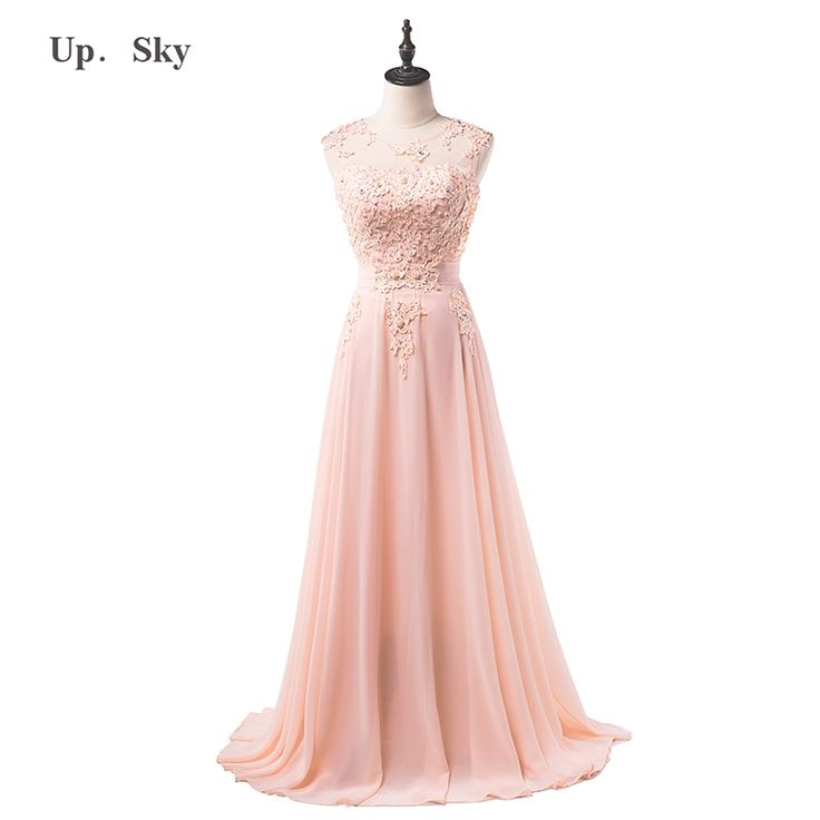50.99$  Watch more here - floor length formal evening dress gown 2015 new Elegant pink A-line lace chiffon maxi long dress women weddings prom party dress   #magazine