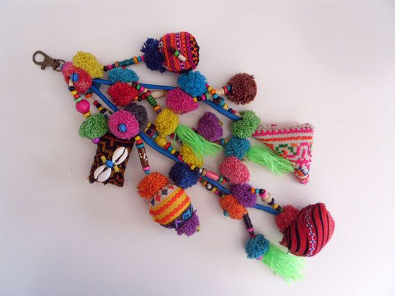 Tribal Bag Charm,Purse Charm - Upcycled HMONG Fabric, Pompoms,Hippie,Boho. $12.99, via Etsy.