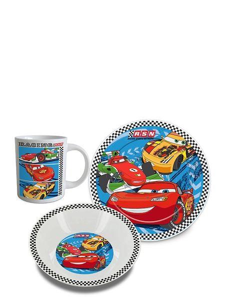Autot-aamiaissetti saa autofanin fiihtymään aamiaispöydässä vähän pidempään. Keraaminen setti sisältää mukin, leipälautasen ja syvän lautasen, josta voi popsia vaikka muroja.