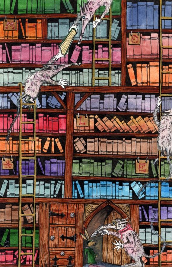 The Ganticus Library of All-Revisions - A3 Print by Jacqui Lovesey from 'The Riddle of Trefflepugga Path' - fantasy art print.
