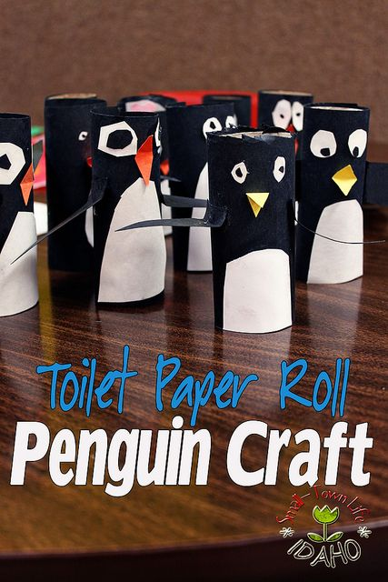 Toilet paper roll penguins.  Cover the rolls in black.  The kids free hand the white tummy, eyes, beaks and wings with the appropriate color paper.