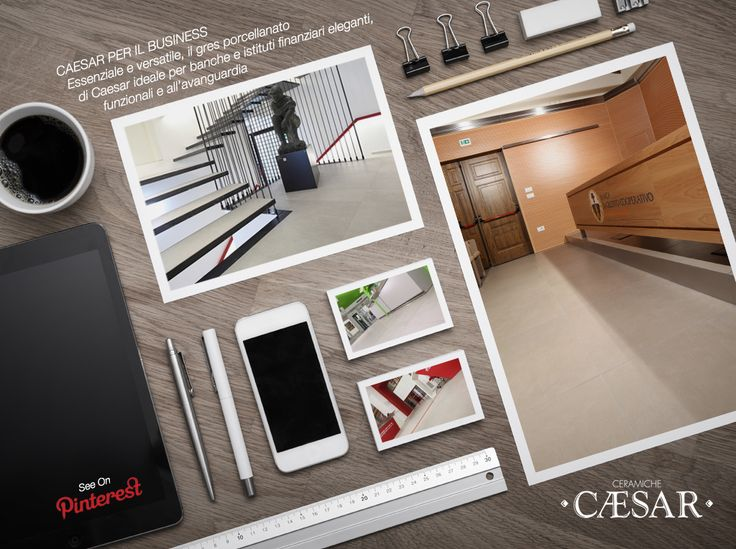 The simplicity and versatility of porcelain stoneware interpret the need for elegance, transparency and efficiency of banks and financial institutions.  #CeramicheCaesar, #tiles, #bank