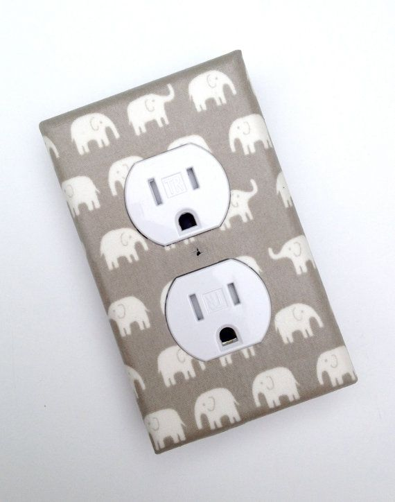 Gray Elephant Nursery Decor Outlet Plate Cover / by SSKDesigns