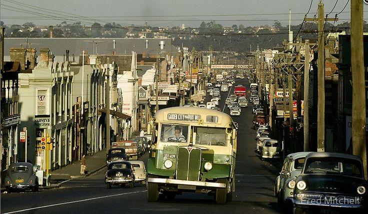 photo Fred Mitchell - Evening Traffic Johnston Street, Collingwood Melbourne Australia, 1962.  (heading toward Smith Street)