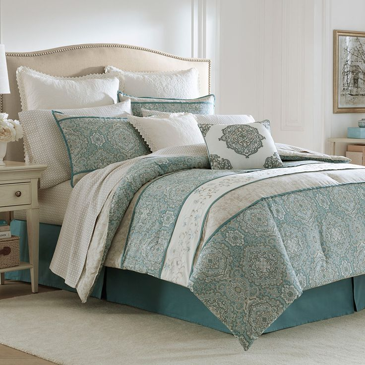 transform your bedroom into a serene sanctuary with the laura ashley ardleigh comforter set the beautiful bedding features alternating bands of medallion