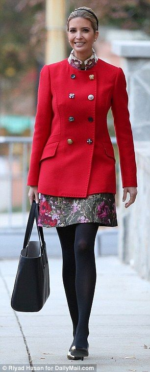 Stylista: The 36-year-old paired the funky coat with a $1,695 jacquard floral skirt by the...